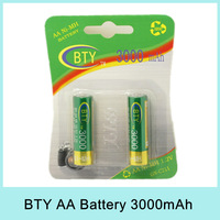 BTY 1.2V 3000mAh AA Ni-MH Rechargeable Battery Pack (2pcs/pack) Original Batteries For Russia Belarus Drop Shipping