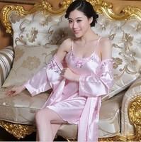 Gift box set female wrist-length sleeve robe female sleepwear silk nightgown twinset embroidered sleepwear silk sleepwear