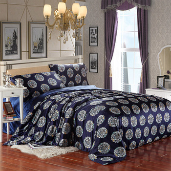Reactive print silk satin bedding sets luxury duvet cover sets queen floral bed sheets/bed linen/quilt cover