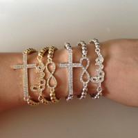 Sunshine jewelry store fashion rhinestone infinity , love and cross bracelet s189 ( $10 free shipping )