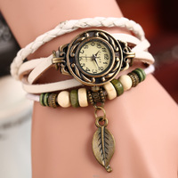 FREE SHIPPING High Quality Women Genuine Leather Vintage Watch bracelet Wristwatches  leaf