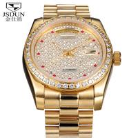 Luxury Date Day Calendar Steel Case Self Wind Dress Automatic Mechanical Full CZ Diamond 18K Real Gold Plated Men's Watch 8737