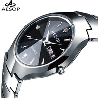Aesop Pure Tungsten Steel Table 100M Waterproof Wristwatch Fashion Men's Sports Watch Quartz Women Dress Rhinastone Watches 8835