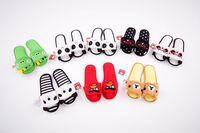 Stripe panda slippers black white stripe shoes winter women cartoon bear animal home slipper