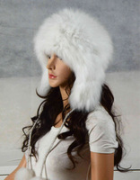 Free shipping Real natural  Fox hat cap  bomber trapper hat Aviator hat Helmet cap hunting hat in women clothing