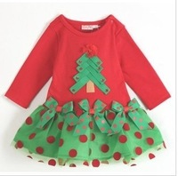 Retail Fall Dresses New Fashion 2013 Long Sleeve Girl Christmas Dress Clothes Baby Girls Tutu Skirt Dress