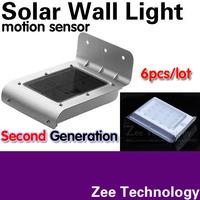 6pcs/lot Latest Version Second generation Solar wall light Solar wall lamp Motion sensor 16LED Very bright 3MODE:bright/dim/dark