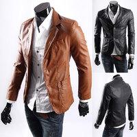 Big size Leather jacket for men casaul slim pu leather Suit Jackets waterproof Blazer coats black/brown/Yellow Asia M-XXXXL C495