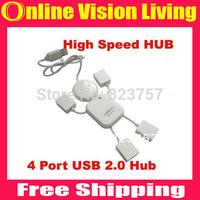 Free shipping Lovely White Human Shape HI-SPEED USB 2.0 4 port USB HUB Doll shape usb hub Drop shipping hot sell A0550