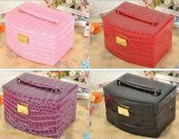 Luxury PU Leather Crocodile Grain Jewelry Box 3 Layers Fashion Jewellery Storage Box Packaging Case Organizer