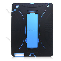 100pcs/Lot Shock Proof PC Plastic Silicon Combo Hybrid Case Cover Shell with Stand for Apple iPad 2 3 4 New iPad Tablet PC