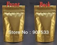 12*20cm Gold Metallic Aluminum Ziplock Stand up Foil Zip lock Bag