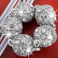 50pcs/Lot Silver Tone Round Ball Rhinestone Magnetic Clasp 10mm CHIC