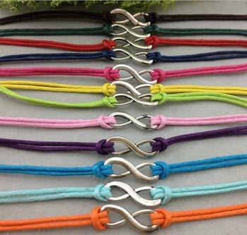 12pc Infinity Bracelet in Silver - Infinity Wish Bracelet - Wax Cords & Korean Cashmere - -   1181 mini order 10$