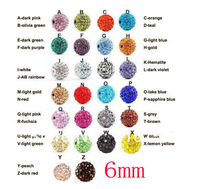 Free Shipping 100pcs Lose Money Sale Mixed Shamballa Beads 6mm AB Clay Crystal Shamballa Disco Pave Crysta Balls