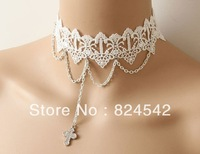 Freeshipping The Glisten Cross  Hollow-Out White Lace Necklace