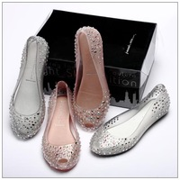 S,2013 brand shoes  new Ladies Melissa Chili Diamond Crystal flat heel Sandals Women Fish Mouth Transparent Jelly Shoes