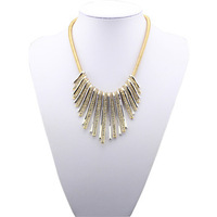 Min.order is $15 (mix order) 2013 Fashion Jewelry Strip Tassel Imitation Diamond Gold/Gun black Necklace For Women Free shipping