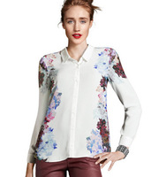 2013 Free Shipping European And American Summer Women Flower Printed Shirt, Long Sleeve Turn-Down White Shirt