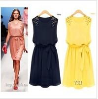 new fashion summer chiffon pink yellow dark bule sleeveless plus size bandage waist women casual dress party dresses 2014