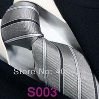 Coachella  Men's ties 100% Pure Silk Tie Gray With Black Blue Stripes Woven Necktie Formal Neck Tie for dress shirts Wedding