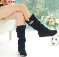 ENMAYER free shipping,2015 Newest winter woolen lady snow boots,sexy bleak orange brown women boots