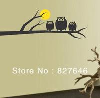 Free Shipping Owl On Tree Full Moon Bedroom Living Room Decor Mural Art Vinyl Wall Sticker Home Window Decoration Decal  Black