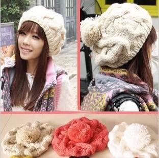 2013 Korean version of the pumpkin hat   Winter Hats For Women Black Warm Twist Knitted Hat Fashion Beanies Women Winter Cap