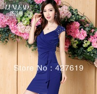 Luxlead 2013 summer new arrival formal slim cool cotton one-piece dress, with diamond knitted, free shipping
