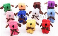 20pcs/lots 20*20cm mini dogs OPP bags fiber lovely dog cake Towel gift christmas/new year/children's/new year gift free shipping