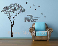 [DongFan] Extra Large Black Tree Wall Sticker Birds Flying Wall Decals for Home Decoration Wall Words Quotes Murals decor