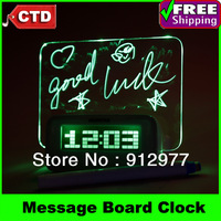 LED Luminous Message Board Digital Desk Table Alarm Clock With Calendar Thermometer