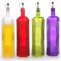 Vintage oil bottle personalized wine bottle decoration household oiler condiment bottles lubai purple glass 1L