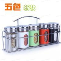 Kitchen supplies glass condiment bottle set stainless steel cruet rotating seasoning box seasoning sealed cans