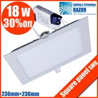 New square 18W SMD LED panel light( 236mm*2326,90pcs smd2835 LED,LED lumen1600lm) AC110V-265V  free shipping!