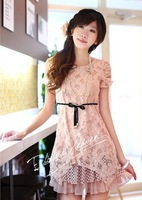 free shipping 2013 popular summer new woman Korean version Slim short-sleeved lace dress Tender girl garment and female clothing