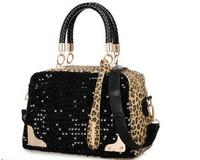 Free Shipping new 2014  European Fashion women leopard handbag ,sequins shoulder bag , women messenger bags morer #107