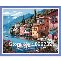 JIUJIU DIY digital oil painting Free shipping arcylic paint 40X50cm Harbor Homes paint by number