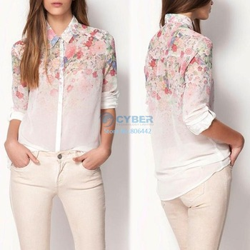 Cheap Women Flower Print Lapel Chiffon Blouses Long Sleeved Shirt 3Sizes 15928
