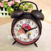 European pastoral retro nostalgia lazy alarm clock creative fashion Silent Night Light black