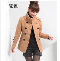 Drop Shipping New 2014 women Fashion  Double Breasted Slim Plus Size Elegant Woolen  Wool Coat/Outerwear Belt