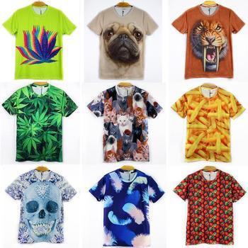 Sale!!2015 Fashion New  animal Galaxy Top/T shirt Women/men  print wolf/tiger 3D t shirt Mix style Freeshipping