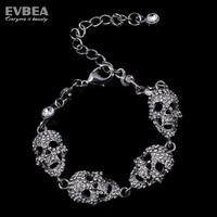stainless steel skull bracelet rhinestone skull bangles for women double skull bangle bracleets shining skeleton crystal