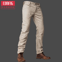 Free shipping 2014 Config men's clothing male casual pants trousers slim straight trousers male overalls trousers
