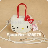 Free shipping 2013 Fashion new super cute white hello kitty handbag PU handbag children messager bag wholesale and retail