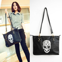 New arrival 2014 spring vintage long suspenders big skull shoulder cross-body bag wholesale