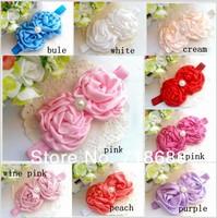 "Headband for baby girls 3"" Rolled Fabric Rosette Flowers with shiny diamond headband 30pcs/lot"