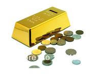(20pcs/lot) Gold Bar Coin Bank, 999.9 Fine Gold, Net Wt 1000G Decoration On Top of Bar, Novelty Gold Brick Piggy Bank