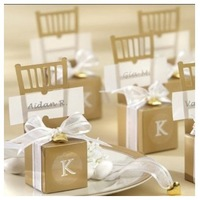 Free shipping Wedding favor--Monogram Gold Chair Favor Box100PCS