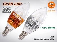 X10 Free shipping High power CREE 3X2W 6W led candle bulb E14 E27 85-265V Warm / Pure white LED Light downlight spotlight Lamp